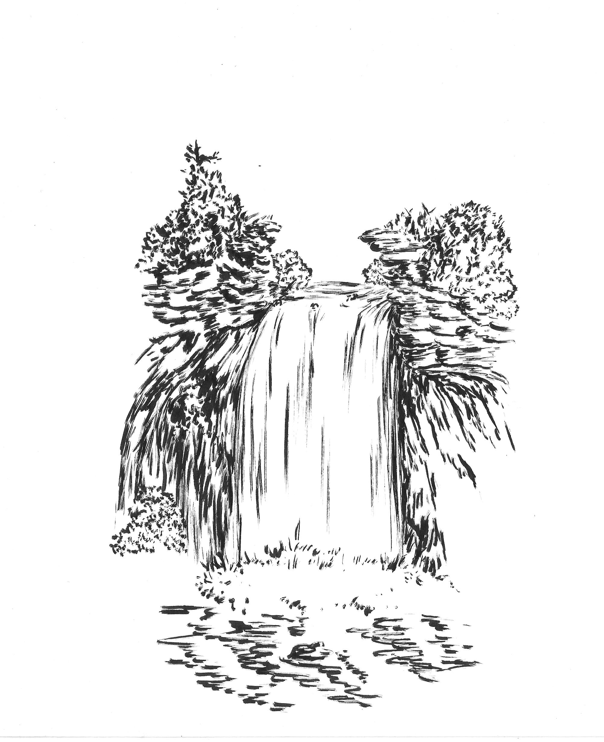 quick draw of waterfall - photo #42